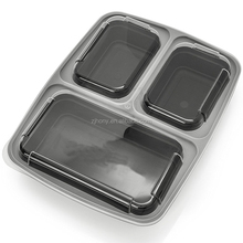 Reusable Meal Prep 3 Compartment Plastic Divided Lunch Containers Food Storage Containers with lids Bento Lunch Box [15 Pack]