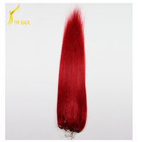 Aliexpress double drawn 100 virgin Indian peruvian remy human hair wholesale price micro loop ring hair extension with silicon