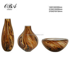 New Hand Blown Glass Murano Art Style Vase Brown Italian/Unique tree pattern glass vase