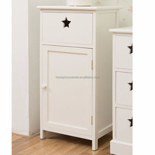 Cottage Painted Shabby Side Cabinet Hand Crafted Single Drawer Cabinet Wood