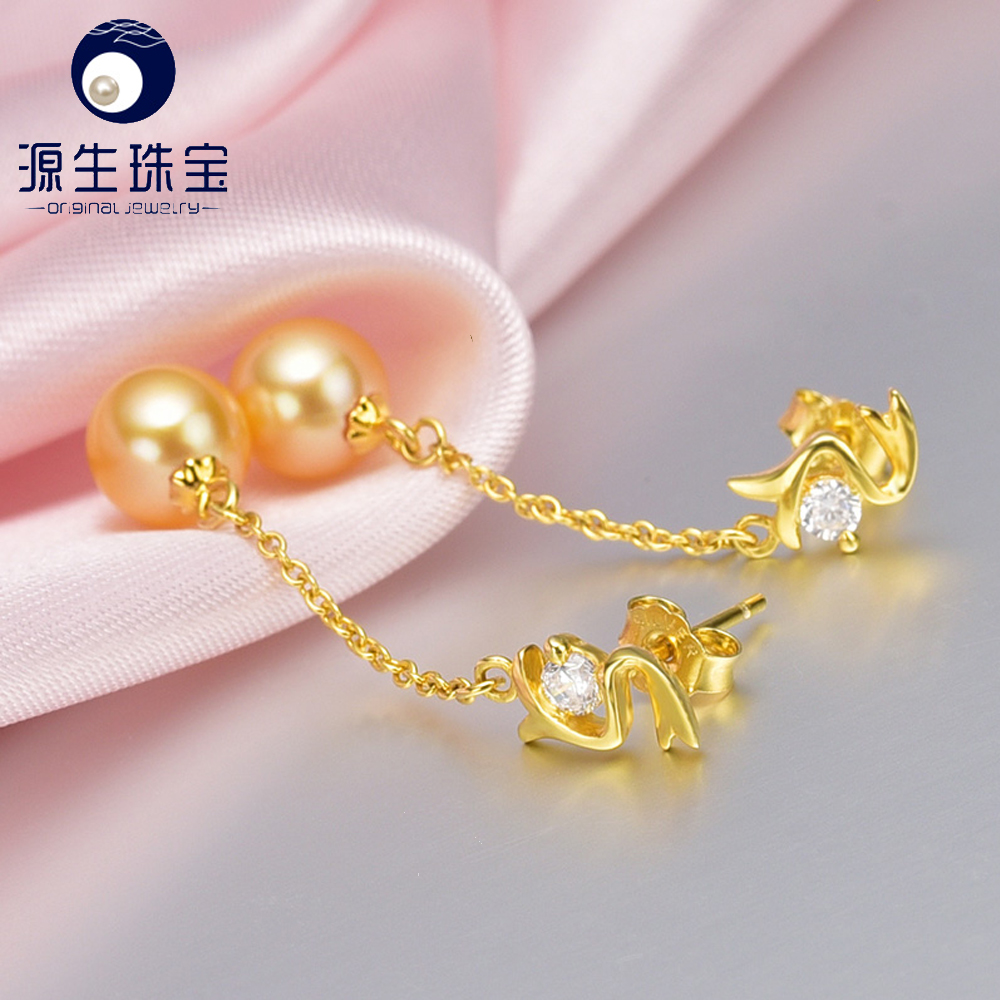 cheap wholesale 7--7.5mm golden japanese akoya pearl earings for sales