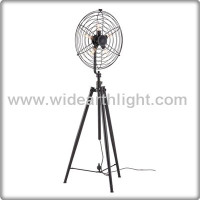 UL CUL Listed Antique Floor Lamp Black Tripod With Fan Shade And 5 Edison Bulbs F40079