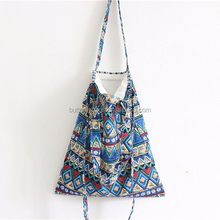 ethnic style custom print linen and cotton shoulder 2016 mature women tote handbags