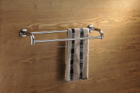 chrome bathroom double pole towel rack towel holder