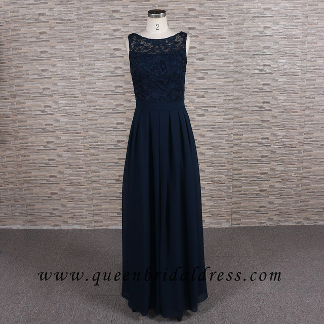Sale Sell scoop neckline Navy chiffon bridesmaid dresses
