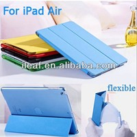 "Fashion PU Leather Smart Cover With Stand Case for iPad air 5 9.7"" PU Front + Plastic Back Cover for iPad5"