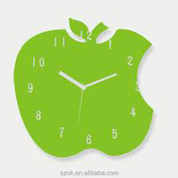 green acrylic elegant design handmade apple shape wall clock factory manufacture
