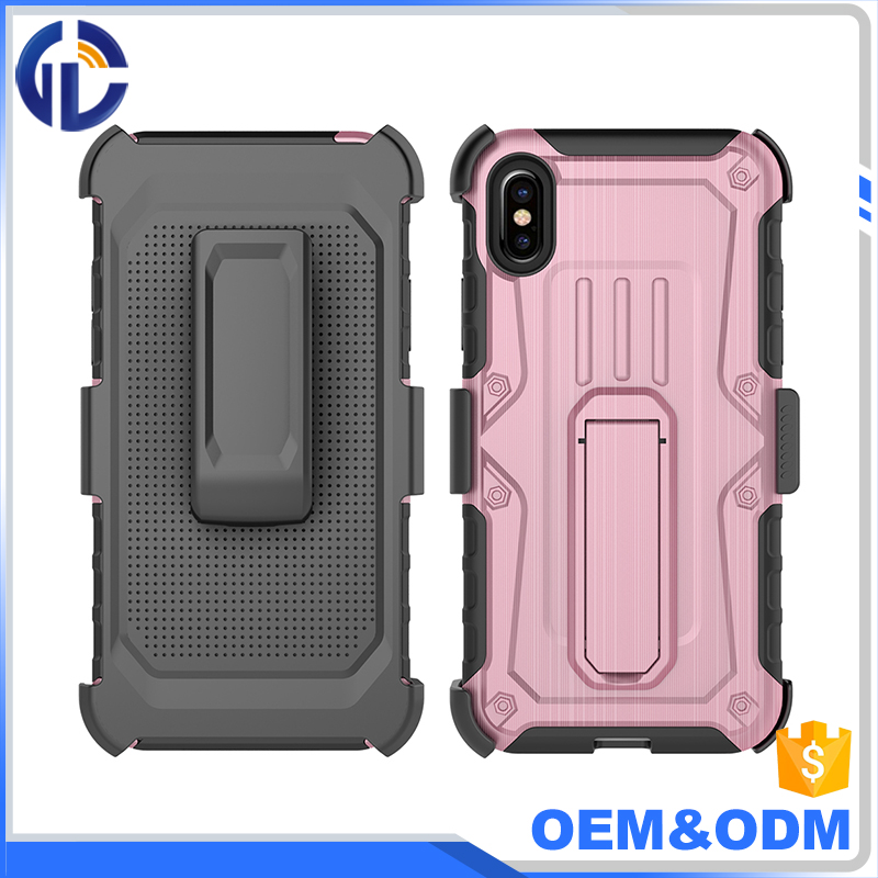 China Factory Wholesale Cell Phone Case For Iphone X Hybrid Heavy Duty Rugged Armor Cover Holster Combo Shell