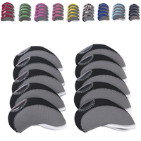 waterproof Colorful Custom Golf iron Club covers golf head cover with Transparent Window in 10 pcs one set