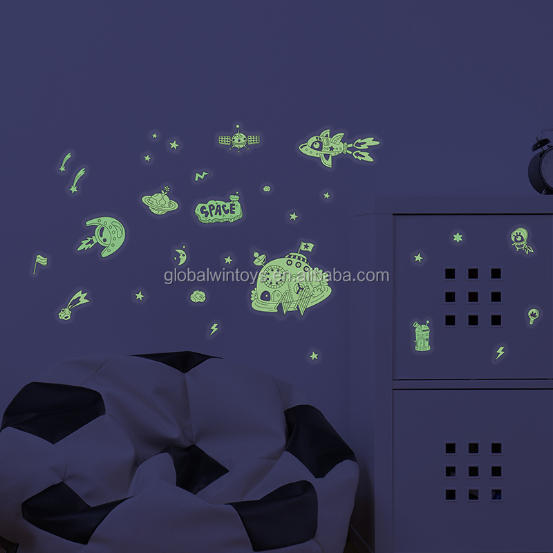 Mideer Phosphorescent Wall Stickers ocean/space theme transparent glow-in-dark sticker for kids wall decoration