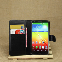 PU Leather flip wallet case cover for lg g2