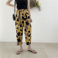 2019 Summer New Women Harem Pants Factory Supply Cotton Linen Print Lady Casual Pants