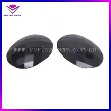 Factory price 8*12mm oval checkerboard black cz gemstones for jewelry