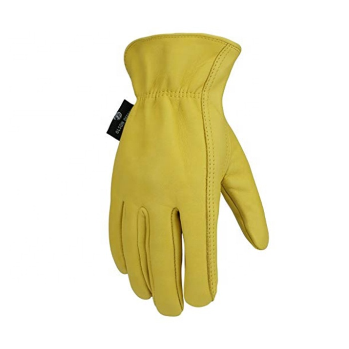OEM Yellow men Labor protection Lumberjack Sheepskin leather working <strong>glove</strong>
