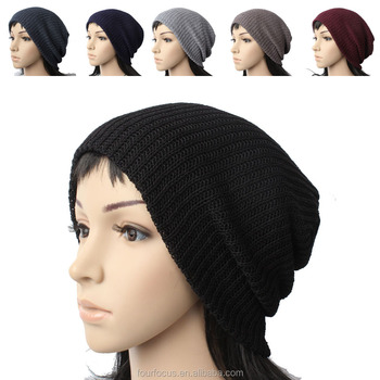 acrylic knitted warm beanie hat