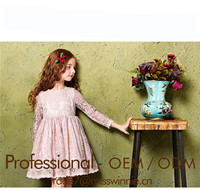 Wholesale Autumn Children Wedding Dress Baby Girls Dresses Long-Sleeved Lace Princess Casual Dress For Party
