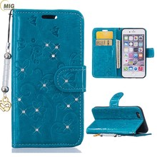 Luxury mobile phone accessories diamond flower wallet PU leather phone case with strap case phone cover for iphone 7, 7 plus