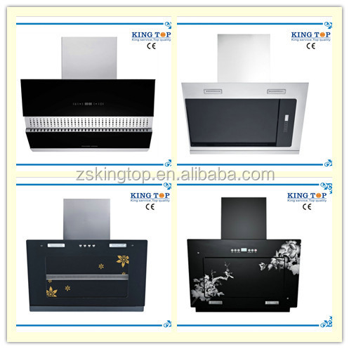 High quality copper wire wall hung tempered glass range hood/side suction cook hood