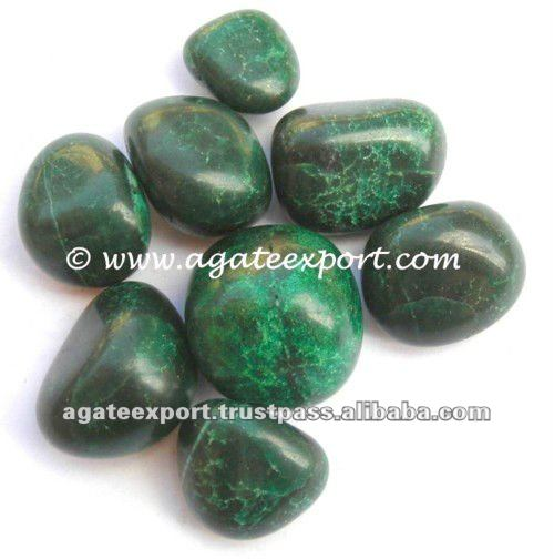 Green Agate Dyed Tumbled Stones