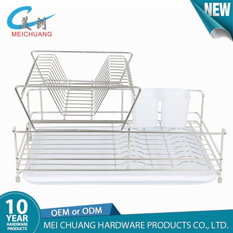Modern 2 tiers stainless steel kitchen dish drainers
