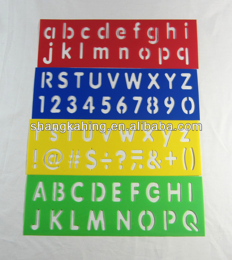 eco-friendly kids letter font PP plastic wall drawing stencils and templates for children
