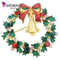 Crystal Christmas Wreath With Bell Pin Brooch