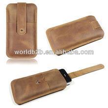 Slim Genuine real Leather Pouch Cover for Samsung S4,i9500 with Pull-tab and card slot