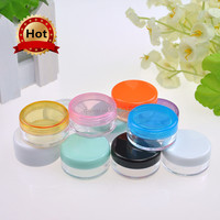 Hot sealing 3g Small Cosmetic Jar With Lid Empty Cosmetic Sample Containers face Cream Ps Plastic Cosmetic Jar