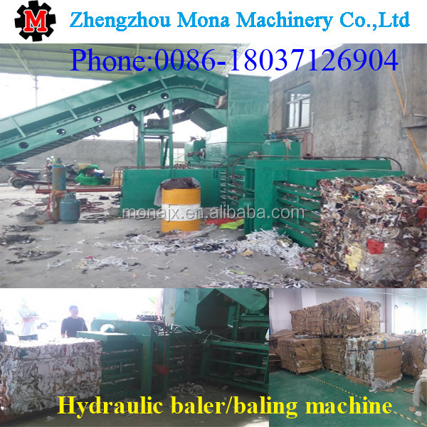 Hydraulic straw bale press machine/hydraulic hay bale press and waste plastic packing machine