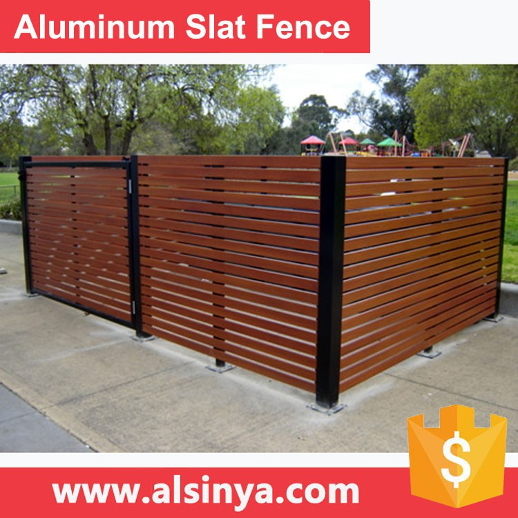 2017 New Style Aluminum Slat Fence for Courtyard Guarding with Wood Grain Color or RAL 7016 Grey