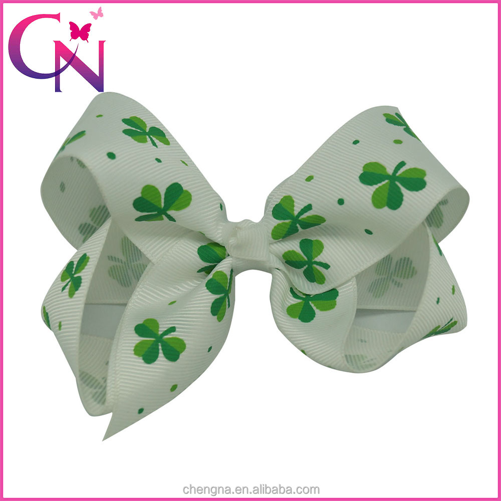 HBW-1601135 Green Shamrock Printed White Ribbon St. Patricks Day Hair Bows
