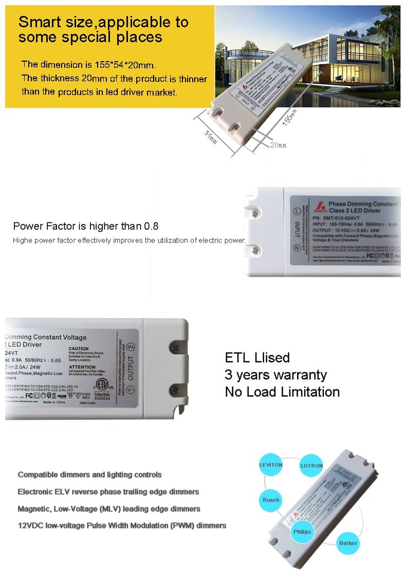 ETL 24W phase cut /triac dimming driver 12V constant voltage led power supply
