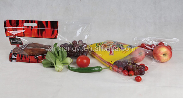 Plastic Custom Printed Fresh Fruit Bag with Slider Ziplock And Air Holes