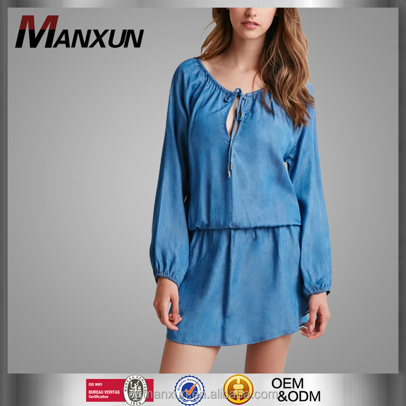 2016 Chambray Demin Top Women Peasant Dress Mini Dress