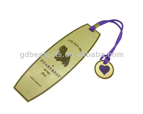 custom different shape corrosion metal bookmarks with rope