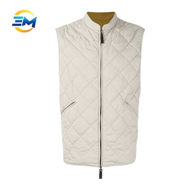 Fashion style csutom beige padded reversible quilted winter vest for men