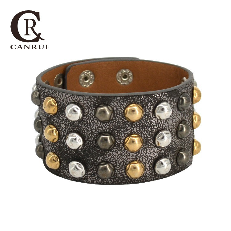 CR1071 Fashion Plated Metal Colors Snake Pattern Spike Wide Leather Bracelet