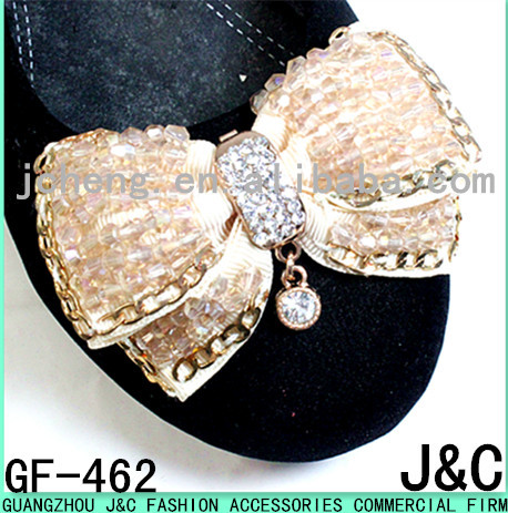 best selling light gold glass beads sew on shoe bows for shoes