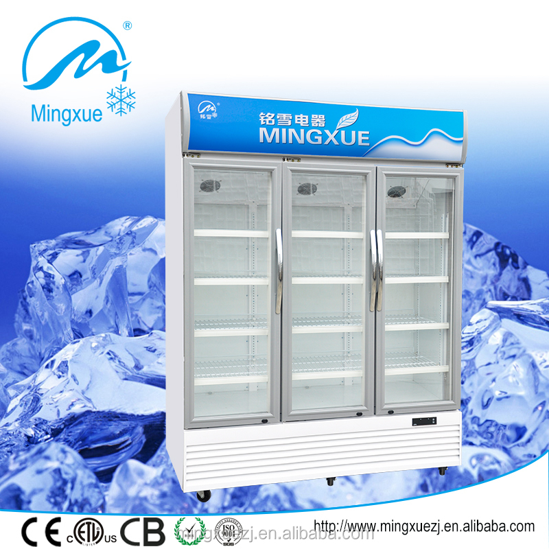 three glass door display showcase 278L upright portable display chiller