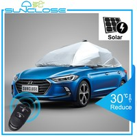SUNCLOSE customized design silver coated polyester taffeta heated car cover with wholesale price