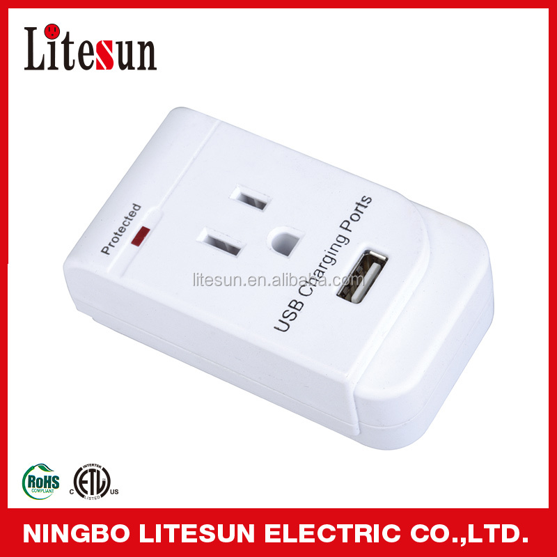 UL ETL Litesun LA 1S 1 outlet current tap with 1 USB port surge protector wall socket