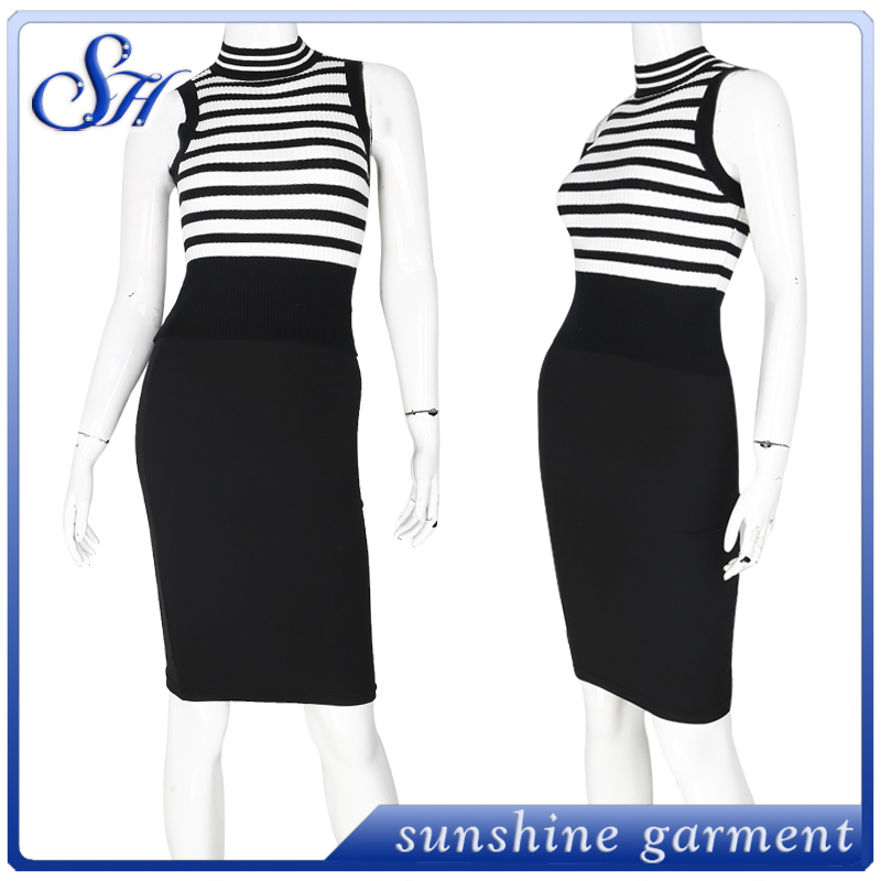 Stripes Top Skirt Set Two Piece Bodycon Evening Midi Dress