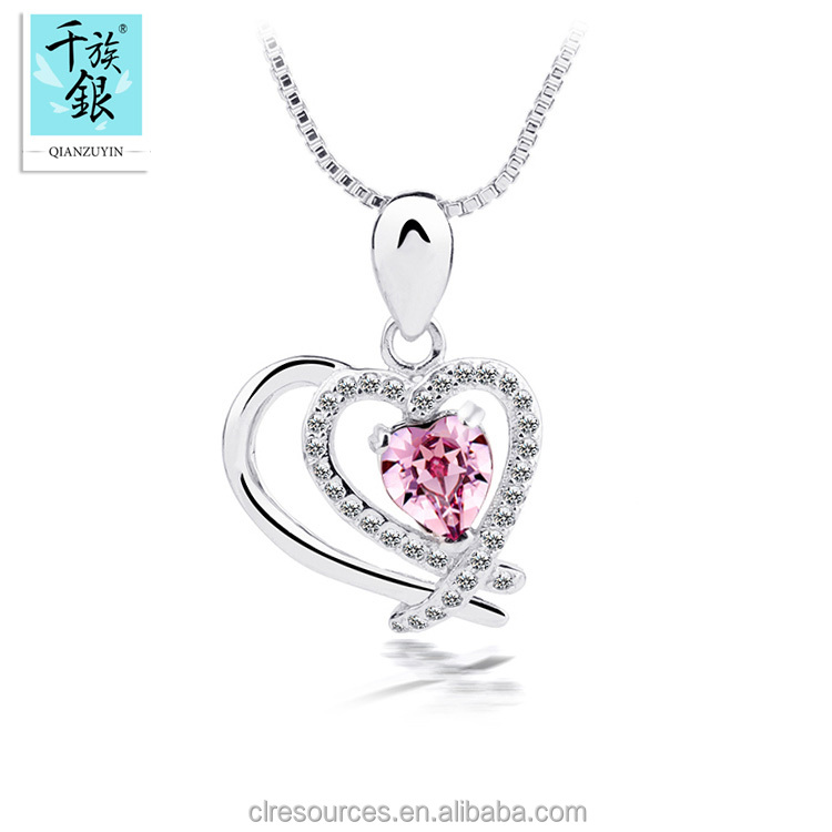 Double Heart Pendant Necklace Silver 925 Sterling Crystal Rhinestone Necklace in Necklaces