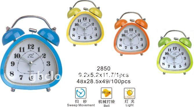 2013 Quartz Analog Metal Bell Double Table Clock