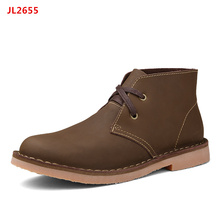 Men Genuine Leather Lace Up Military Chukkas Ankle Boots for Uniforms