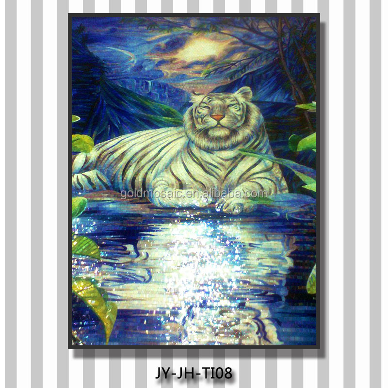 JH best selling lively tiger design fabric wall murals handmade glass mosaic tile wall mural artist 3d animal pictures