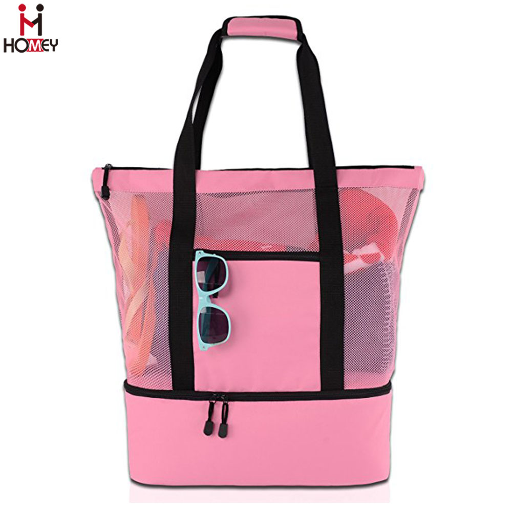 Picnic Time Thermal Beach Bag with Insulated Compartment Mesh Tote