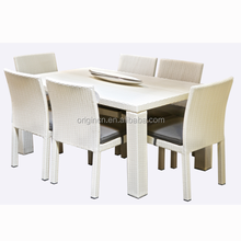 Home outdoor or dining room white furniture sets 6 seater rattan wicker catering tables and chairs