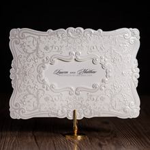 pocket design wedding invitation card with elegant embossing cw5230