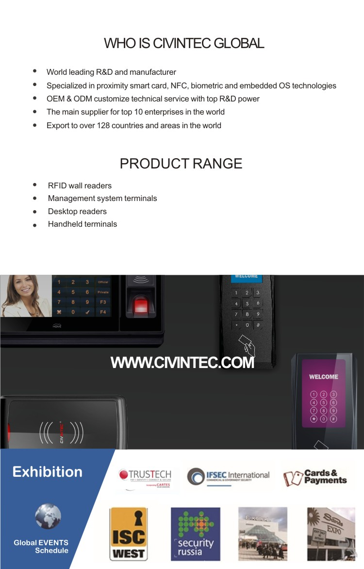 Fingerprint Access Control & Time Attendance System with TCP/IP RFID reader, pass ROHS, CE